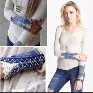FREE PEOPLE KYOTO CUFF Henley Thermal White & Blue